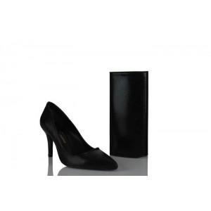Ayakkabı Stiletto Çanta Takım Siyah Yılan