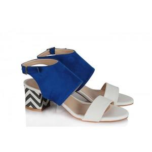 Az Topuklu Ayakkabı Sandalet Saks Mavi Renkli