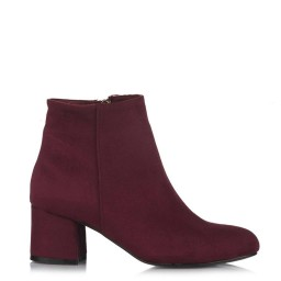 Low Heeled Woman Boots Claret Red Color Suede