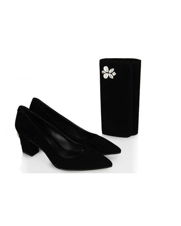 Az Topuklu Siyah Stiletto Taşlı  Portföy