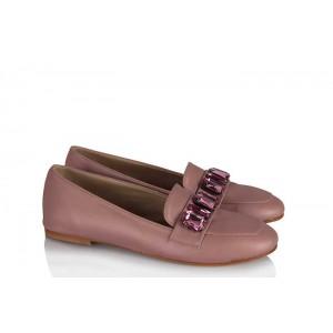 Babet Ayakkabı Düz Model Pudra Taşlı