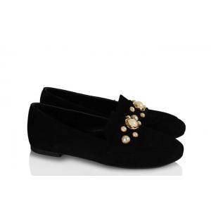 Babet Ayakkabı Düz Model Siyah Süet İncili