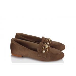Babet Ayakkabı Düz Model Vizon İncili
