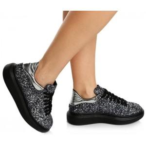 Bayan Ayakkabı Gümüş Simli
