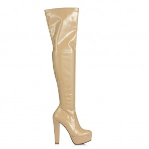 Bayan Platform Streç Çorap Çizme Bej Rugan