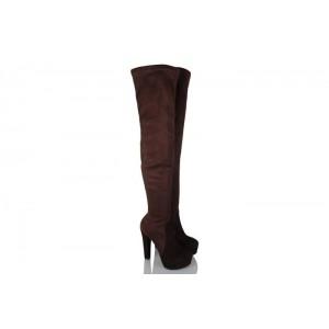 Bayan Platform Streç Çorap Çizme Kahverengi