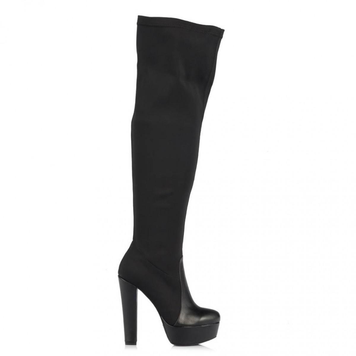 Bayan Platform Streç Çorap Çizme Siyah