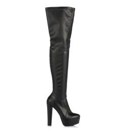 Bayan Platform Streç Çorap Çizme Siyah Deri
