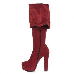 Bayan Platform Streç Çorap Çizme Vişne Rengi Süet