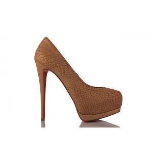 Bej Crocodil Deri Gizli Platform Bayan Ayakkabı