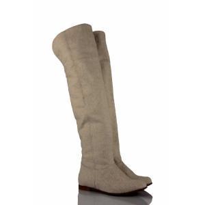 Bej Keten Dizüstü Binici Kadın Çizme