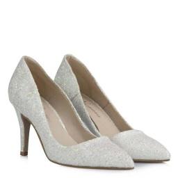Beyaz Cam Kırığı Stiletto Gelin Ayakkabısı