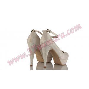 Beyaz Dantel Bilekten Bantlı Gelinlik Ayakkabı