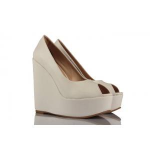 Beyaz Deri Dolgu Topuk Burnu Açık Gelinlik Ayakkabı