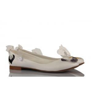 Beyaz Deri El Boyama Özel Tasarım Gelinlik Babet