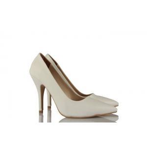 Beyaz Deri Stiletto Model Ayakkabı