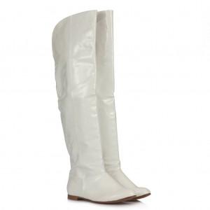 Beyaz Rugan Dizüstü Binici Kadın Çizme