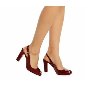 Bordo Rugan Topuklu Ayakkabı