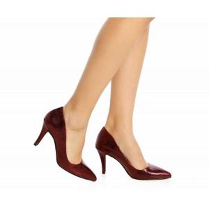 Bordo Yılan Stiletto Ayakkabı