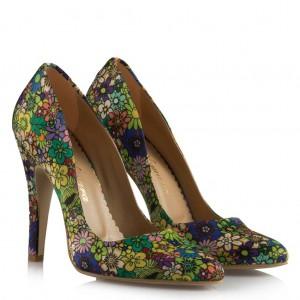 Çiçek Desenli Stiletto Ayakkabı