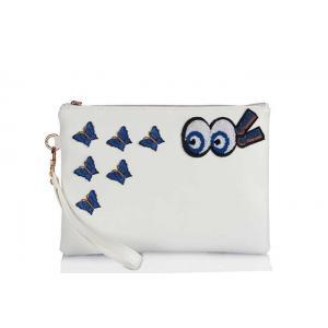 Clutch Çanta Armalı Beyaz Kelebek