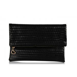 Clutch Çanta Modelleri Siyah Hasır