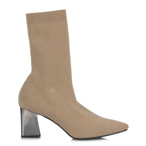 Çorap Topuklu Bot Kum Rengi