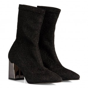Çorap Topuklu Bot Siyah Simli