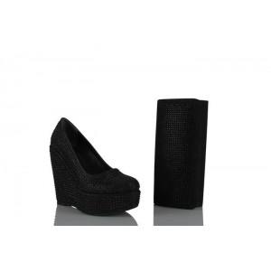 Dolgu Topuk Ayakkabı  Çanta Takım Siyah Taşlı