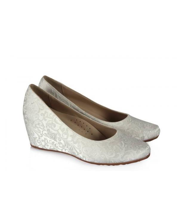 Dolgu Topuk Gelin Ayakkabısı Dantelli