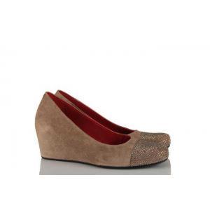 Dolgu Topuk Kadın Ayakkabı Vizon Taşlı
