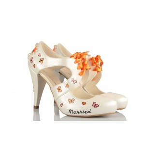 Düğün Ayakkabısı Kelebek Ve Kalp Kurdeleli Tasarım