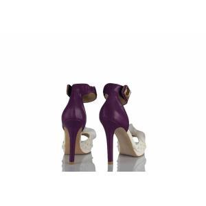 Düğün Ayakkabısı Mor Taşlı Tasarım