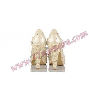 Düğün Ayakkabısı Sedef Renk İnci Ve Taş Özel Tasarım