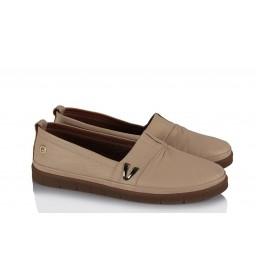 Düz Taban Ayakkabı Hakiki Deri Bej