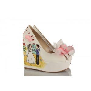 El Ele Gelin Damat Tasarım Düğün Ayakkabısı