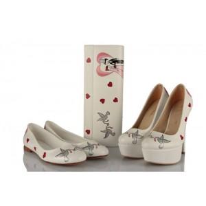 Evlenen Gelin Damat Tasarım Ayakkabı Babet Portföy Takımı