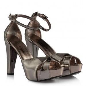 Füme Ayna Platform Topuklu Ayakkabı
