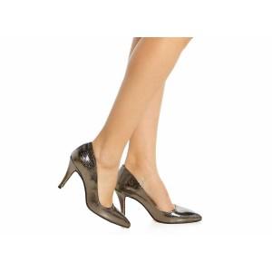 Füme Rengi Yılan Baskı Stiletto Ayakkabı