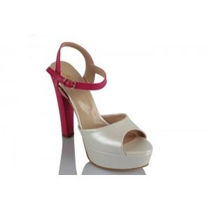 Fuşya Beyaz Gelin Ayakkabısı