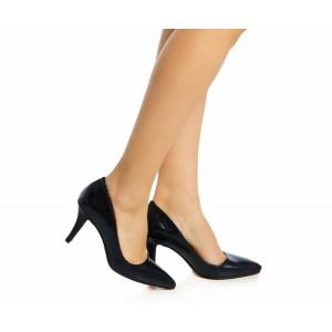 Gece Mavisi Yılan Baskı Stiletto Ayakkabı