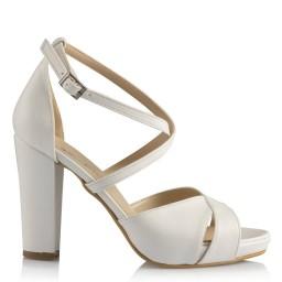Gelin Ayakkabısı Beyaz Çapraz Model