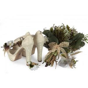 Gelin Ayakkabısı Çiçek Tasarım Buket Seti