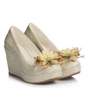 Gelin Ayakkabısı Dolgu Topuk Papatya Tasarım