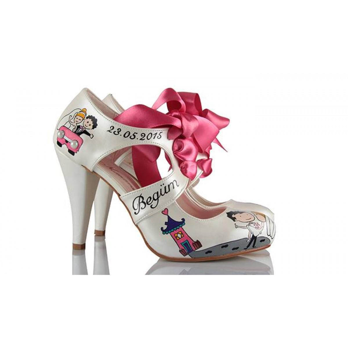 Gelin Ayakkabısı El Boyama Kucakta Modeli 37numaracom