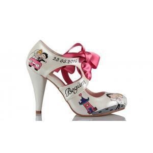 Gelin Ayakkabısı El Boyama Kucakta Modeli