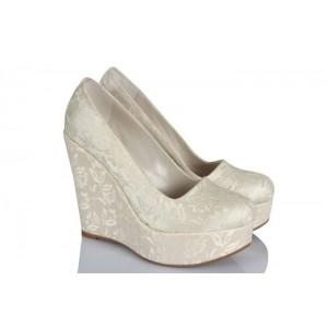 Gelin Ayakkabısı Kırık Beyaz Dantel