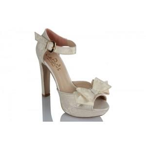 Gelin Ayakkabısı Kırık Beyaz Dantel Fiyonklu