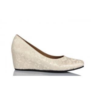 Gelin Ayakkabısı Kırık Beyaz Dantel Rahat Topuk