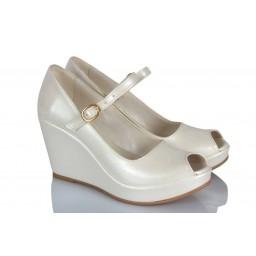 Gelin Ayakkabısı Kırık Beyaz Kemer Dolgu Topuk